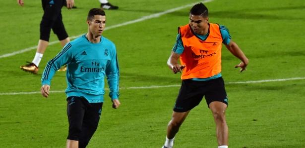 Cristiano Ronaldo e Casemiro deram um susto em Zidane durante o treinamento