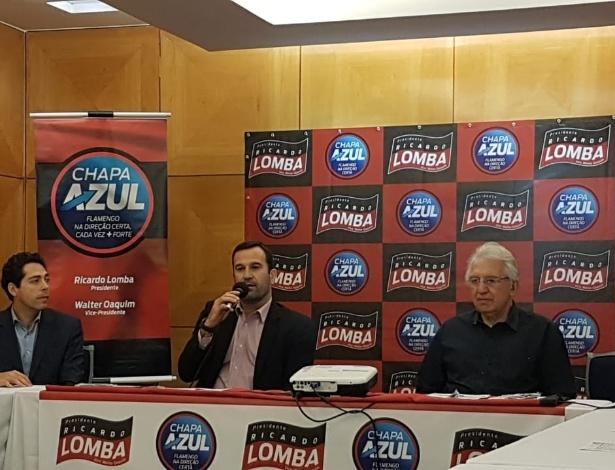 O candidato Ricardo Lomba (centro) enfrenta problemas na eleição do Flamengo - Vinicius Castro/UOL