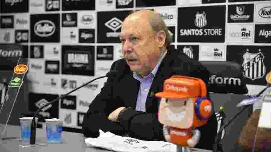 José Carlos Peres, presidente do Santos, em entrevista coletiva - Ivan Storti/Santos FC