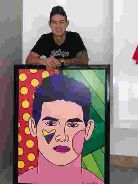 James Rodríguez posa ao lado de quadro de Romero Britto - Reprodução/Instagram