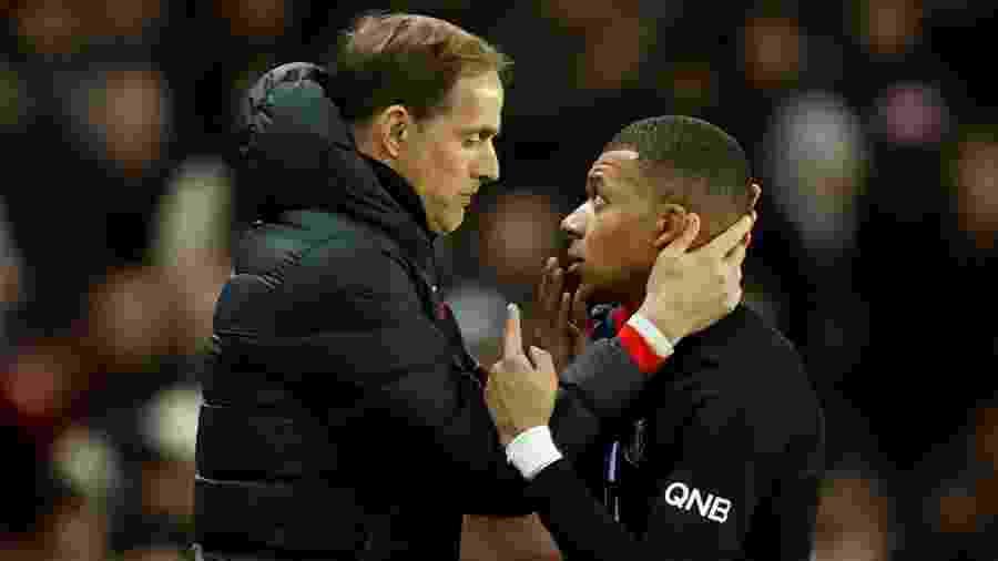 Mbappé não gostou de ser substituído por Thomas Tuchel durante a partida do PSG contra o Montpellier - Gonzalo Fuentes/Reuters