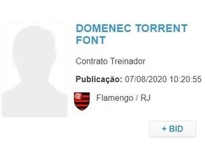 Contrato de Domènec com Flamengo é regularizado junto à CBF - Reprodução - Reprodução