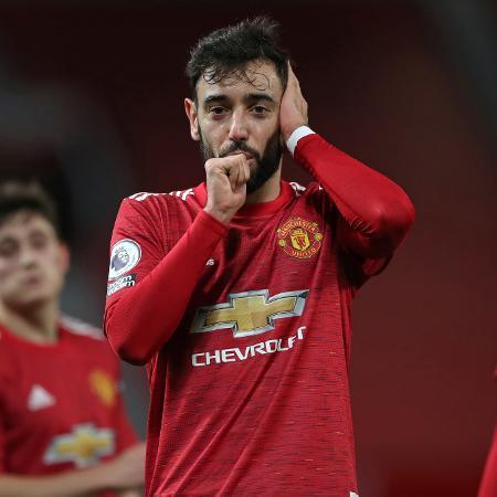 Bruno Fernandes em ação pelo Manchester United - NICK POTTS/AFP