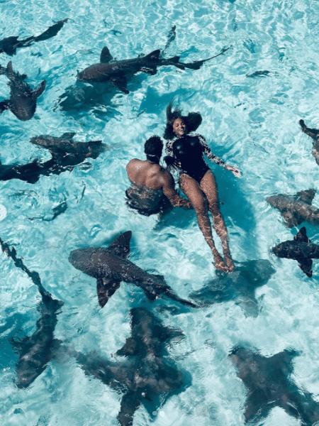 Wilson e Ciara nadando com os tubarões  - Reprodução