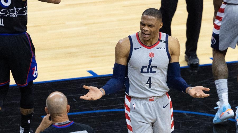 Russell Westbrook, armador do Washington Wizards, durante jogo dos playoffs da NBA - Bill Streicher-USA TODAY Sports