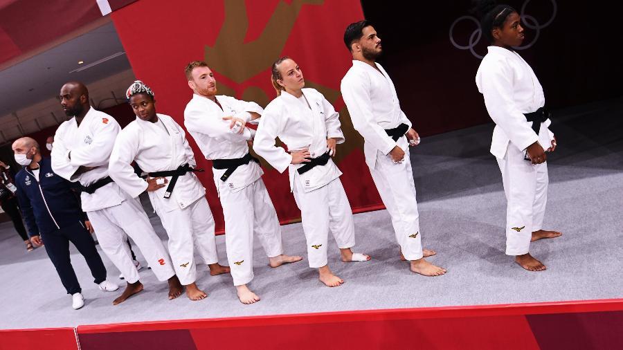 Judocas da França antes de disputa por equipe nas Olimpíadas de Tóquio - Annegret Hilse/Reuters