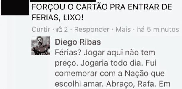 Diego argumenta com torcedor nas redes sociais - Reprodução / Facebook - Reprodução / Facebook