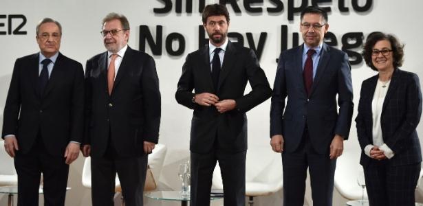O presidente da Juventus, Andrea Agnelli (centro), em Madri