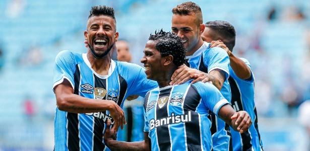Miller Bolaños comemora gol do Grêmio contra o Veranópolis, na Arena