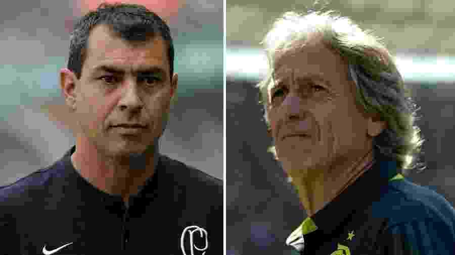 Carille e Jesus se encontram pela segunda vez em suas carreiras amanhã, na Arena Corinthians - Montagem sobre fotos de Thiago Ribeiro e Daniel Vorley/AGIF