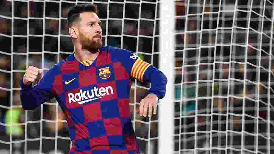 Lionel Messi comemora gol sobre o Celta pelo Espanhol - Josep LAGO / AFP