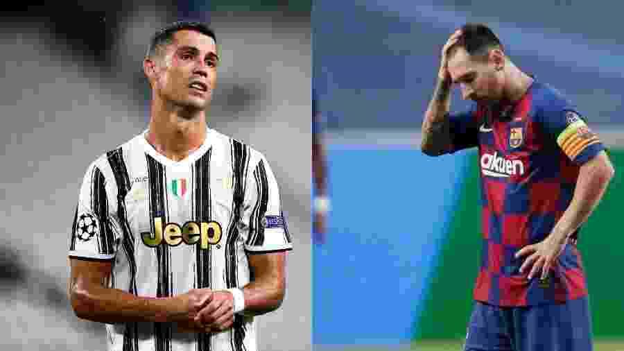 Cristiano Ronaldo e Lionel Messi podem se enfrentar amanhã pela Liga dos Campeões - Montagem sobre fotos de Nicolò Campo/LightRocket via Getty Images e Manu Fernandez / POOL / AFP