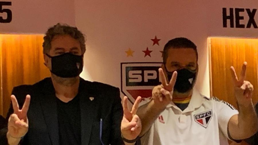 Julio Casares (à esquerda) e Olten Ayres Abreu Júnior (à direita) são do mesmo grupo político no São Paulo - Divulgação