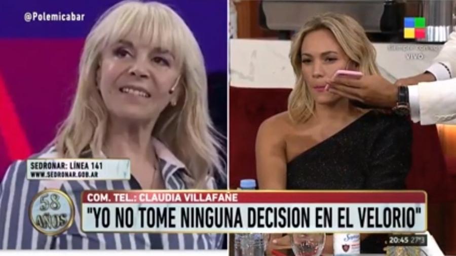 Claudia Villafañe, ex-mulher de Maradona, e Rocío Oliva, ex-namorada do argentino, brigam ao vivo em programa de TV - Reprodução/América TV