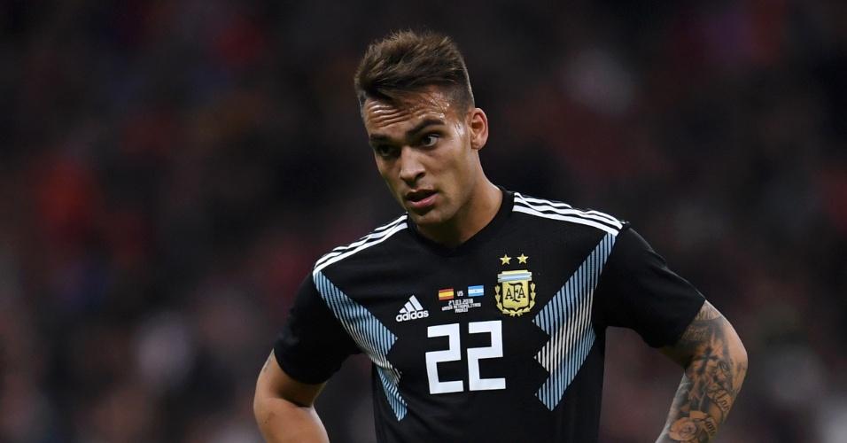 Lautaro Martinez no amistoso entre Argentina e Espanha