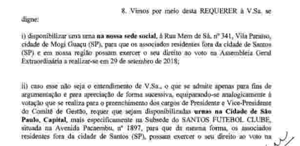 Pedido de sócios do Santos por urnas na capital paulista para votação do impeachment 3 - Reprodução - Reprodução