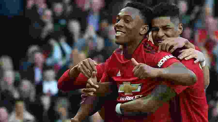 Martial comemora gol contra o Watford, pelo Campeonato Inglês - Paul ELLIS / AFP