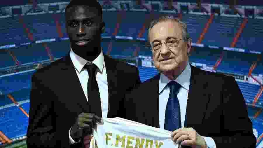 Ferland Mendy posa ao lado de Florentino Pérez, presidente do Real Madrid - OSCAR DEL POZO/AFP