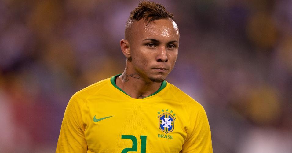 Everton Cebolinha, durante amistoso da seleção brasileira contra os Estados Unidos