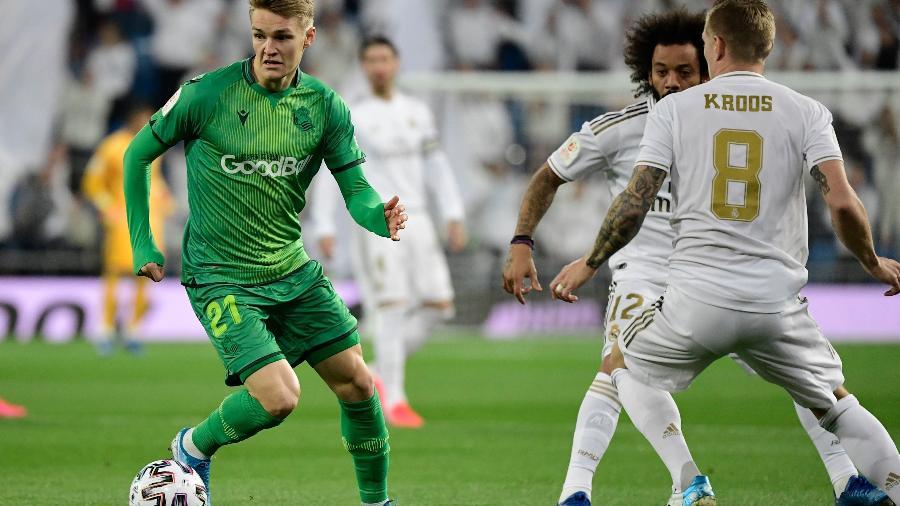 Martin Odegaard domina pela Real Sociedad em vitória sobre Real Madrid de Marcelo e Kroos - JAVIER SORIANO / AFP