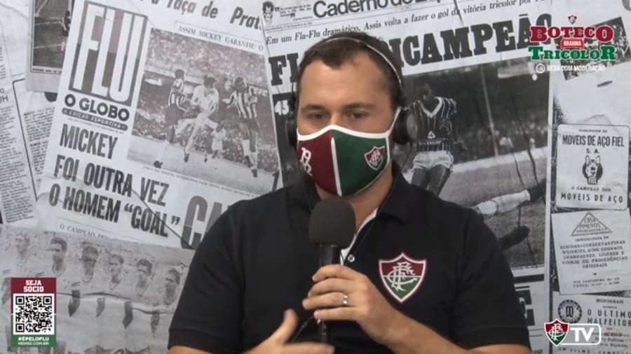 Mário Bittencourt, presidente do Fluminense, em participação na FluTV para o sorteio da Libertadores - Reprodução FluTV