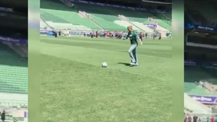 """Empresária apareceu em vídeo de 2019 no gramado do Allianz Parque para dar """"sermão"""" em quem perde pênalti - Reprodução/Twitter"""