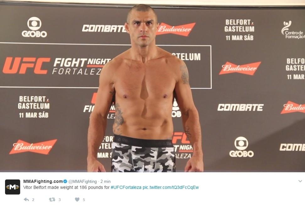 Vitor Belfort em pesagem oficial para o UFC Fortaleza