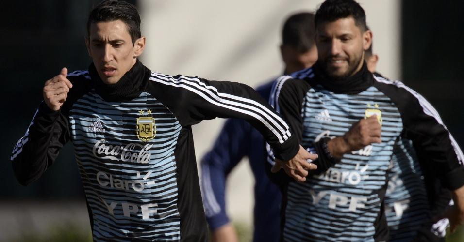 Di María faz seu primeiro treino com a seleção argentina na preparação para a Copa