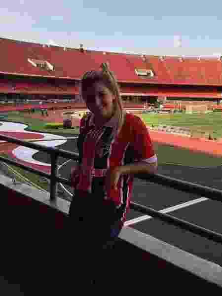 Melody Pasini, namorada de Centurión, no estádio do Morumbi - Reprodução/Instagram