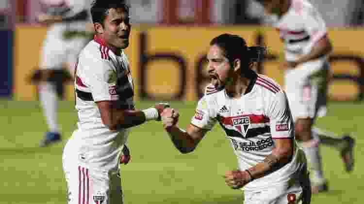 Benitez, jogador do São Paulo, comemora seu gol durante partida contra o Cuiabá - Ettore Chiereguini/AGIF - Ettore Chiereguini/AGIF