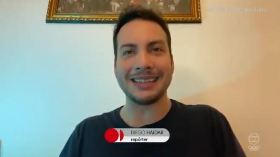Diego Haidar, repórter da Globo, desafia Alex Escobar a se arricar em modalidade olímpica - Reprodução/Globo
