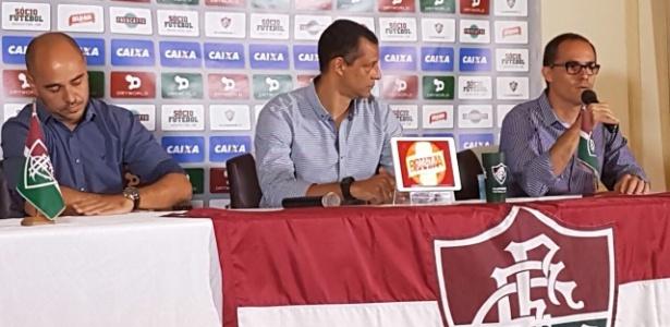 Marcelo Teixiera, Alexadnre Torres e Pedro Abad: a cúpula do futebol do Fluminense