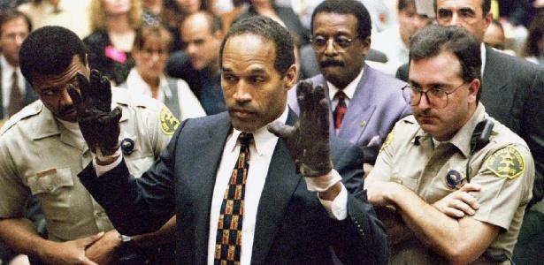 OJ Simpson durante o julgamento de assassinato em que foi réu nos anos 90