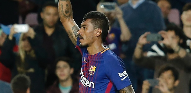 Paulinho comemora gol marcado pelo Barcelona contra o Eibar