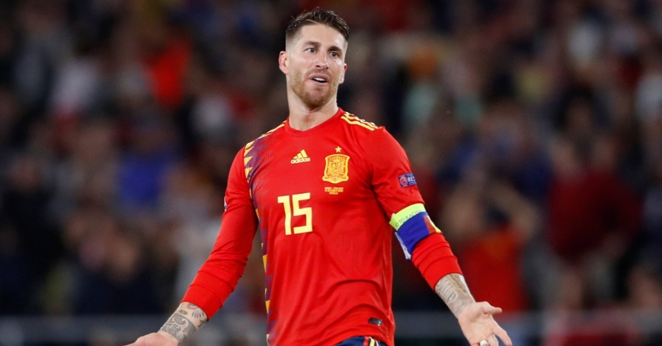 Sergio Ramos, durante partida entre Espanha e Inglaterra