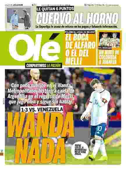 Capa do jornal Olé: Messi jogou bem na avaliação da publicação - Reprodução