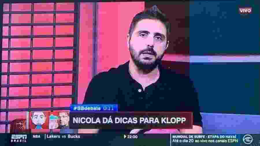 Jorge Nicola, da ESPN, deu dicas para Klopp tentar vencer o Flamengo em dezembro de 2019 - Reprodução/ESPN