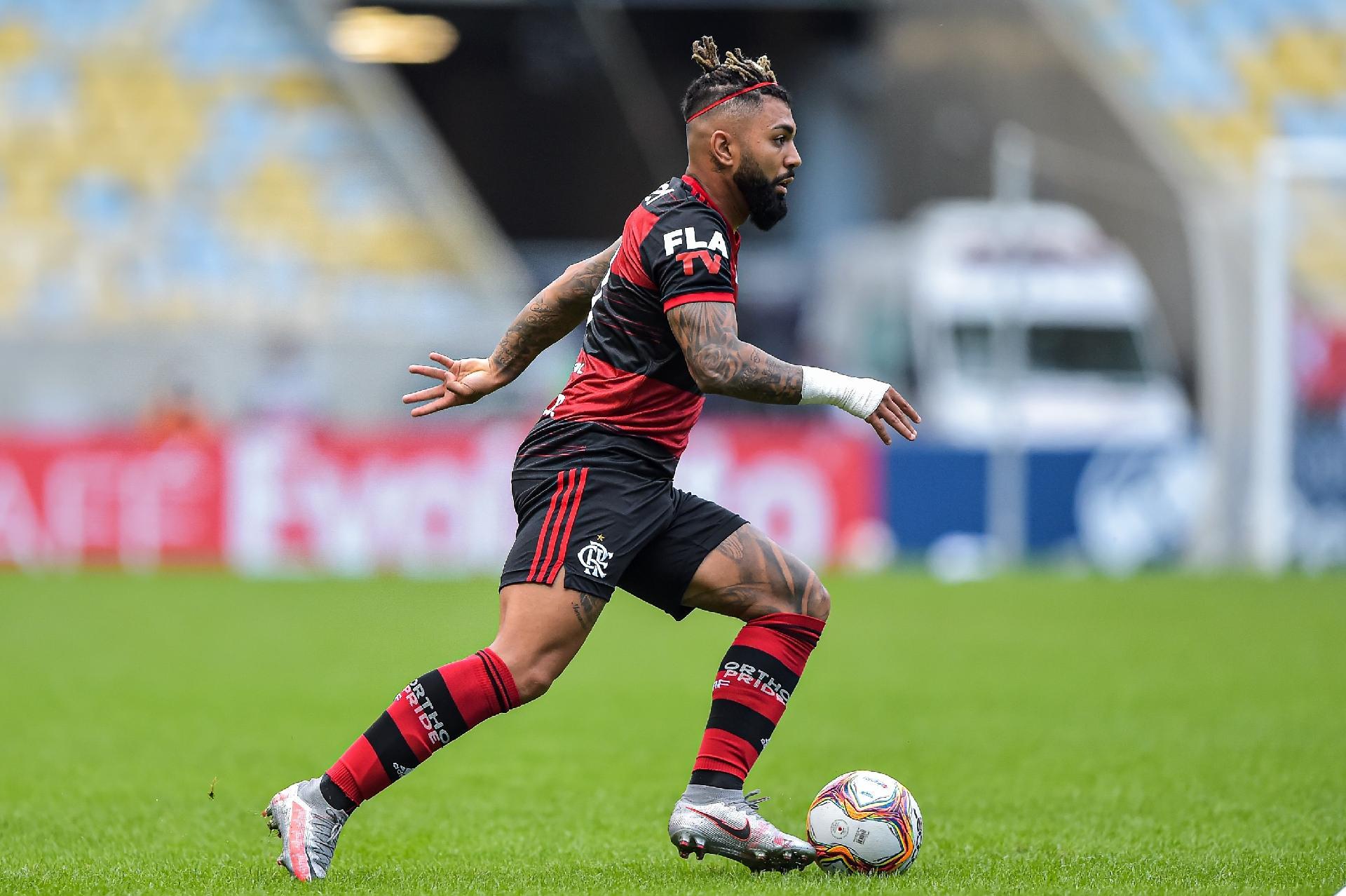 Gabigol, do Flamengo, durante primeira final do Carioca contra o Fluminense
