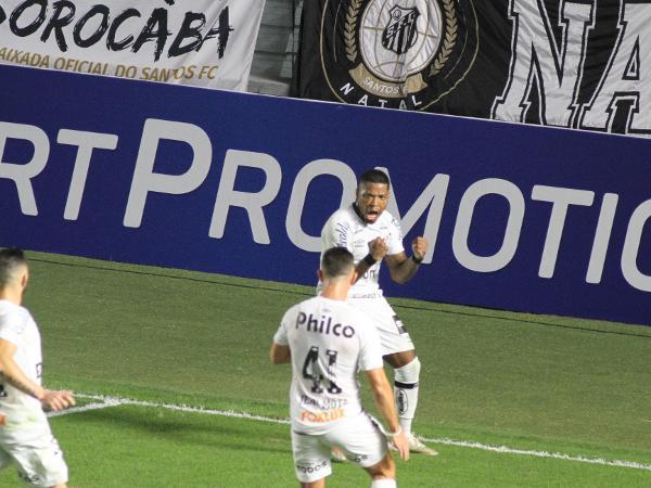Marinho comemora gol do Santos contra o São Paulo pelo Brasileiro