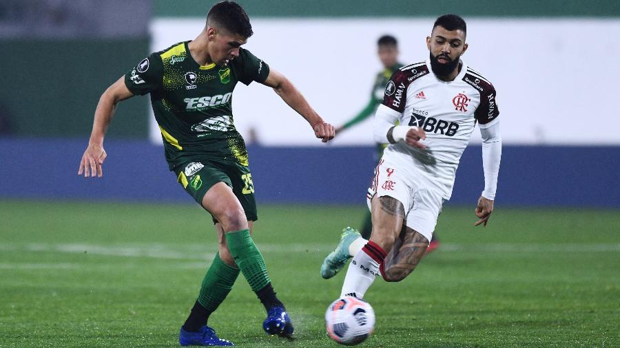 Gabigol em ação durante a partida do Flamengo contra o Defensa y Justicia, pelas oitavas da Libertadores 2021. - Staff Images/Conmebol