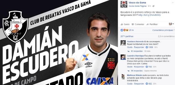 Escudero foi anunciado nas redes sociais do Vasco - Reprodução