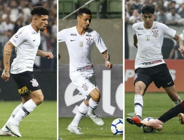 Douglas, Thiaguinho e Araos pelo Corinthians; jogadores brigam por uma vaga - Montagem sobre fotos de Rodrigo Gazzanel/Ag. Corinthians