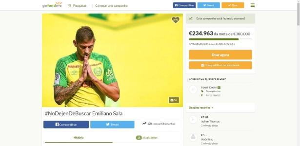 Campanha arrecada 227 mil euros e buscas por Sala são retomadas - Reprodução