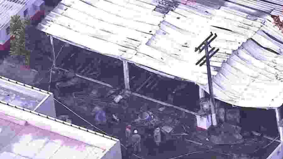 Alojamento do Ninho do Urubu foi atingido por incêndio - Reprodução/SporTV