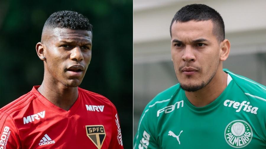 Robert Arboleda, equatoriano do São Paulo, e Gustavo Gómez, paraguaio do Palmeiras - Montagem sobre fotos/Agif