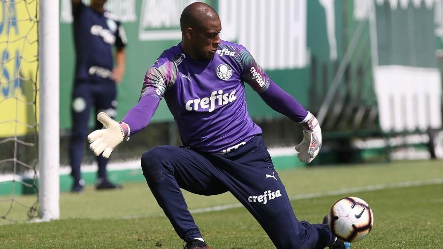 Jailson em ação durante treino do Palmeiras; goleiro tem recebido poucas chances no Alviverde - Cesar Greco/Ag. Palmeiras/Divulgação