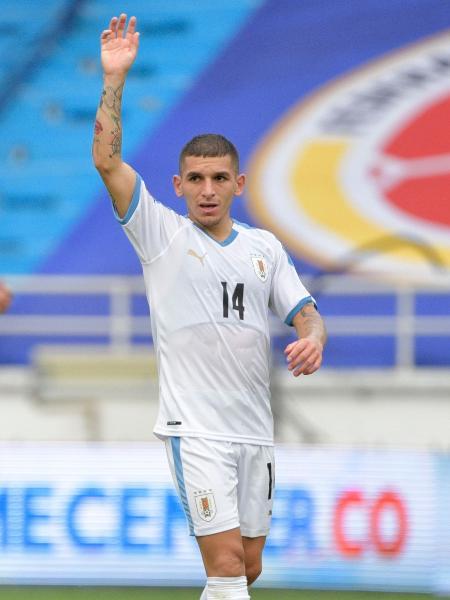 Lucas Torreira, durante partida pelo Uruguai - Raul ARBOLEDA / AFP