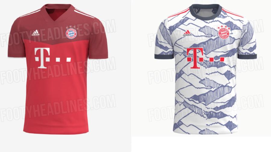 Supostas camisas nº 1 e nº 3 do Bayern de Munique para a temporada 2021-22 - Montagem sobre Reprodução/Footyheadlines.com