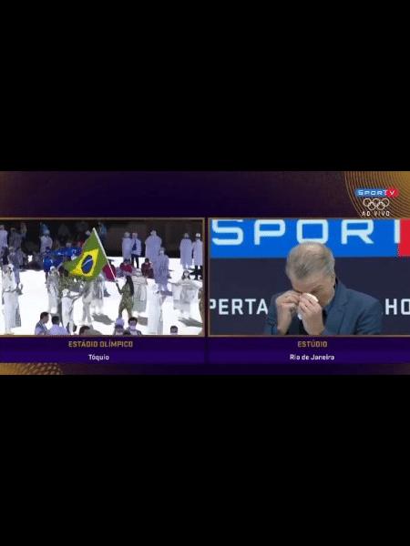 Bernadinho se emociona com Bruninho de porta-bandeira nas Olimpíadas - Reprodução web