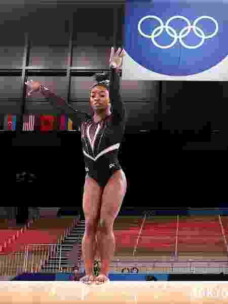 Simone Biles em treino antes de estrear nos Jogos Olímpicos de Tóquio - Jamie Squire/Getty Images - Jamie Squire/Getty Images